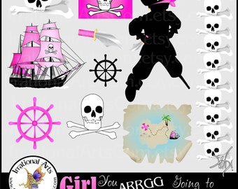 INSTANT DOWNLOAD Pirate Girl You ARRGg Going to Walk the Plank PINK with 10 png files clip art graphics for scrapbooking