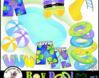 BOY Pool Party Time set 2 INSTANT DOWNLOAD 23 digital clipart graphics Pool innertube board shorts flip flops sunglasses beach balls