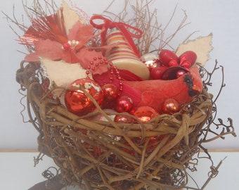 Bird Nest Christmas Decoration Red Centerpiece Repurposed Goodies
