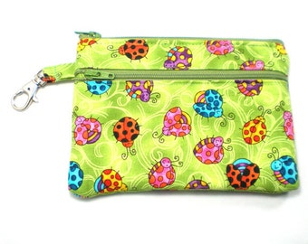 Larger Zippered Wallet Change Purse Gadget Case Happy Ladybugs on Green