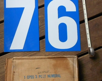 Vintage GAS STATION  SIGN, Numbers 6,7 royal blue white enamel