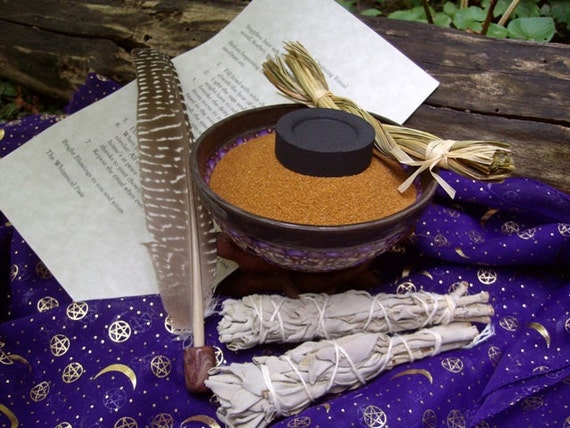 Hearth and Home/Protection and Spiritual Power Smudge Bowl with Sweet Grass, Sage Wand, Feather House/Home Cleansing Ritual included