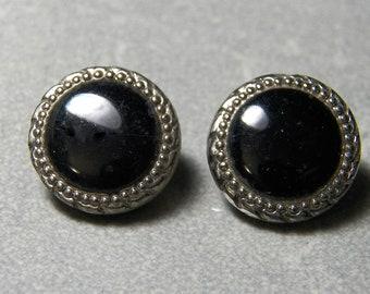 Vintage Czech Black Glass with Silver Trim Button 13mm (2)
