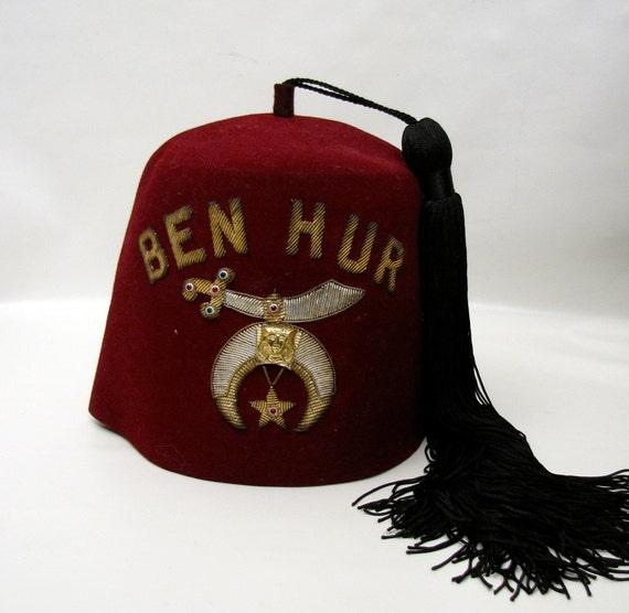 Vintage Masonic Red Fez Shriner Ben Hur Arabia Halloween Hat
