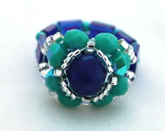 Czech Fire Polished Woven Ring in Cobalt Blue and Turquoise