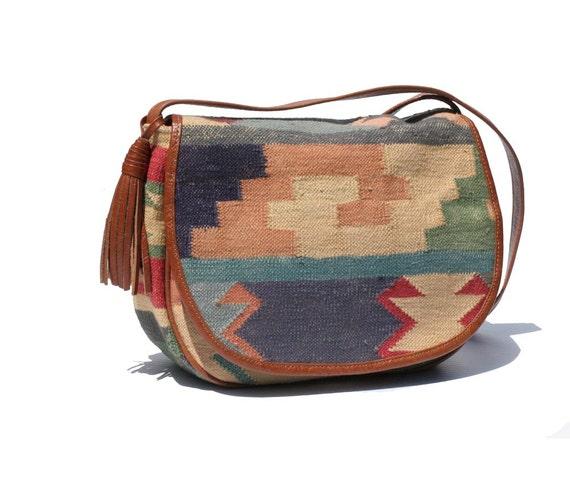 Multi Color Kilim & Leather Bag