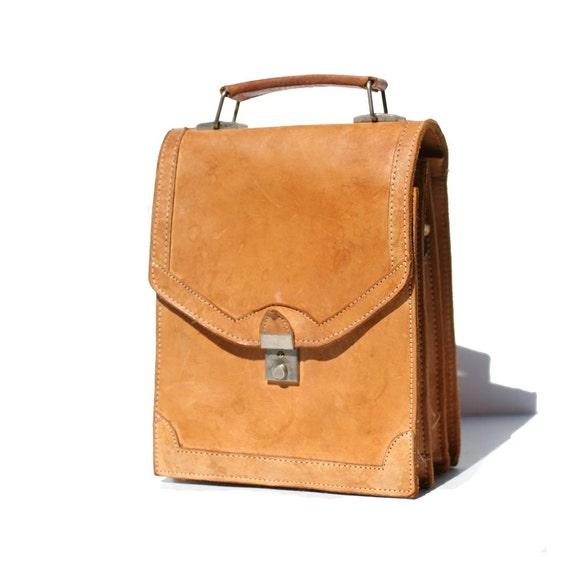 Tan Leather Vertical Bag