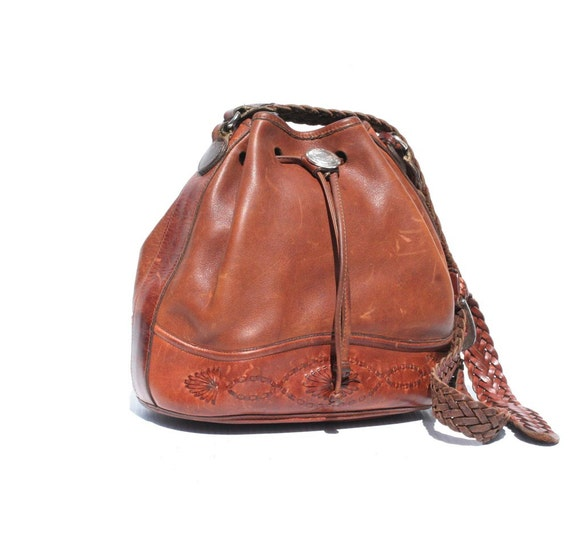 Brown Leather Draw String Bucket Bag