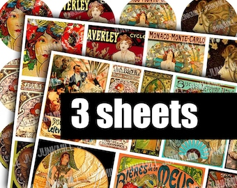 MUCHA - Digital Printable Collage Sheets - Alphonse Mucha Sale Bundle, Art Nouveau Illustrations, Pendant Circles Squares, Digital Download