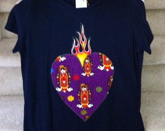 Purple Sacred Heart Sagrado Corazon with Our Lady of Guadalupe tee shirt size medium