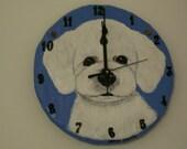 Bichon Frise Pup Battery Operated Clock