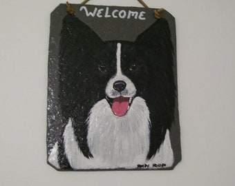 Papillion  ( Black and White) Welcome Slate