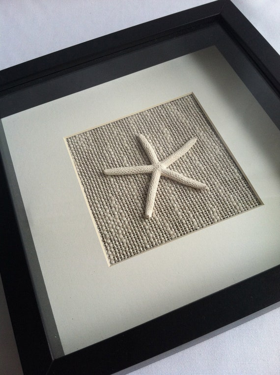 Starfish Wall Hanging Natural Linen Black Frame