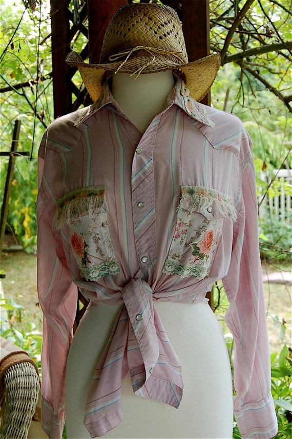 Upcycled Clothing under 25, Ladies Country Western Pearl Snap Shirt, Shabby Chic Pink, Roses, Vintage Lace & Fringe, L - XL