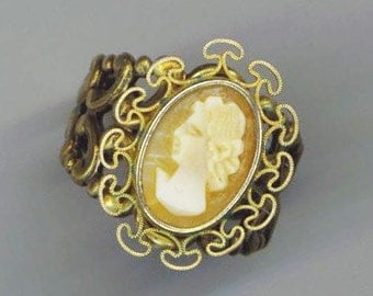 Gold Plated Filligree Ring . Vintage Cameo . Baroque . Genuine Cameo . Statement Ring - Faces from the Past Series by enchantedbeas on Etsy