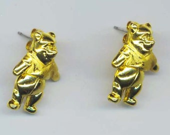 Vintage Disney Golden  Earrings .  Fun Movable Winnie the Pooh Bear. Old Fashion Costume jewelry  - Disney Jewelry by enchantedbeas on Etsy