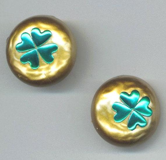Shamrock Earrings. Gold Bronze Purple . St Patrick's Day . Luck of the Irish . Green Clover - Lucky Earrings by enchantedbeas on Etsy