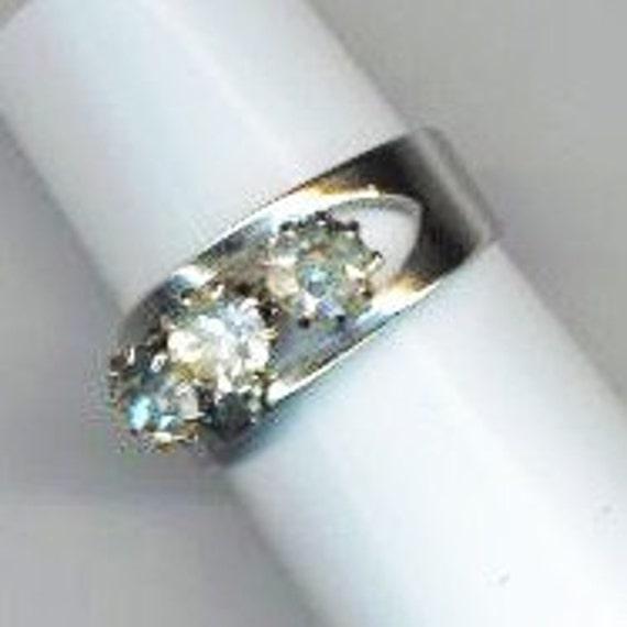 Vintage Cubic Zirconia Ring . Silver Color Ring . Adjustable Ring . Three stones Ring - Crystal Trio by enchantedbeas on Etsy