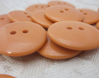 Plain Gloss Pumpkin Orange Buttons 20mm 24 pieces