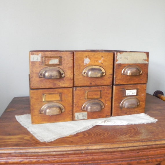 RESV jacka24 Vintage Wooden Drawer shop with brass pull  - oak wood divided box boxes - LAST ONE