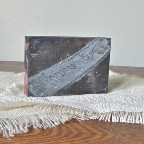 Antique printers print block stamp - spells wonderful in script - metal on wood
