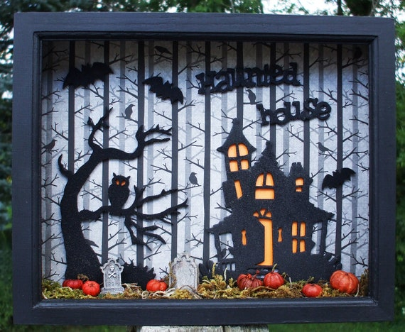 Halloween Haunted House And Creepy Tree Wood Shadow Box Frame
