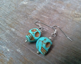 Turquoise Sugar Skull Earrings Howlite