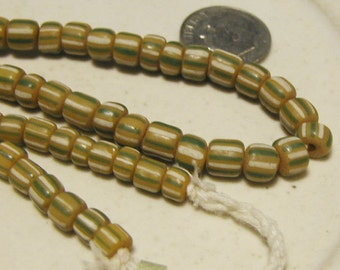 Indonesian Glass Beads - 1 Strand - Yellow Green White - IND026A
