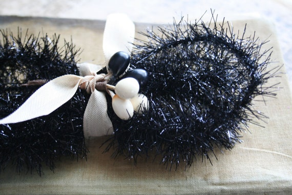 Jet black wired feather tree tinsel garland inches