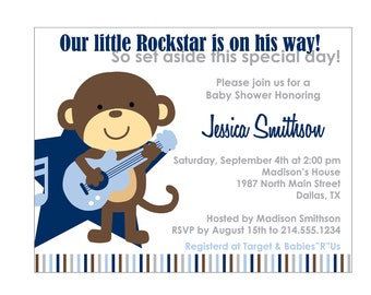Rockstar Monkey Baby Shower Invitation or Birthday Invitation Cards DIY Printable file