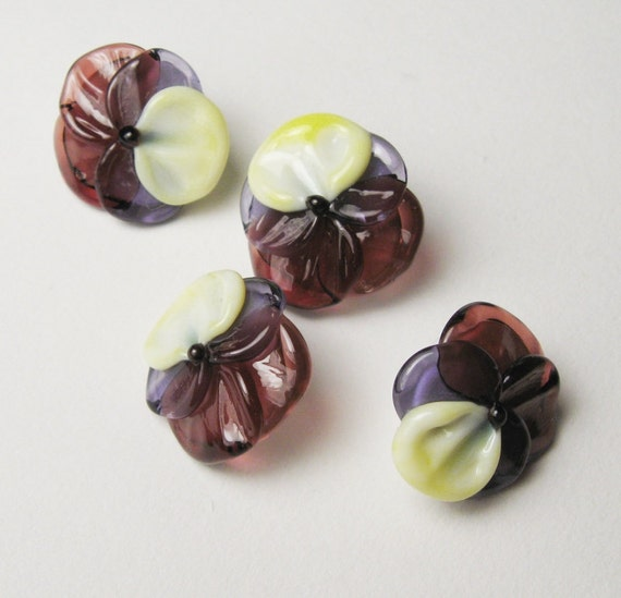 Lampwork Glass Button Beads PANSIES Handmade Artisan Crafted Supplies