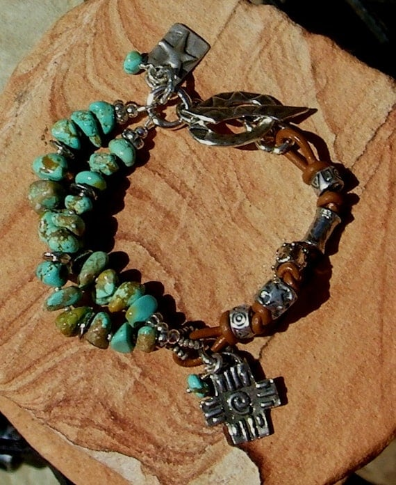 Turquoise Handcrafted Artisan Sterling Silver Leather Bracelet