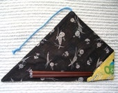 Japanese Fabric Chopstick Case, Chopstick Cozy with Chinese teapots outside, retro Japanese pine needle print inside, Yellow Black Green