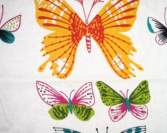 African Butterfly cotton fabric by Alexander Henry in cream - 5/8 yard; Yellow Green Pink White Teal Orange; Dragonfly, Butterflies