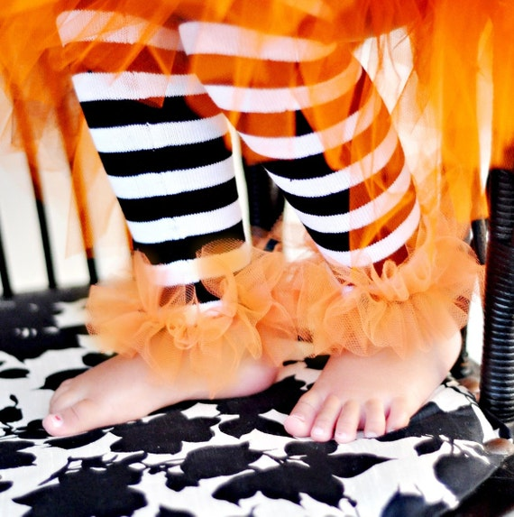 BLOW OUT SALE 90% Off Halloween Blk-Wht-Org Bunny Legs Girls Ruffled Tutu Leg Warmers -  Made and Ready to Ship Buy Today Ships Today