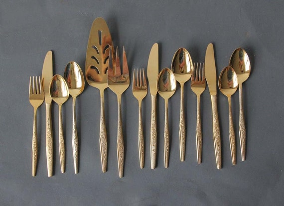 Gold Flatware Service for 3 with Serving Utensils, 14 Pieces