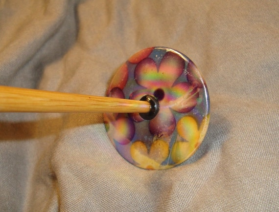 Drop Spindle Funky Mother of Pearl Floral Decal Iridescent Coating Bottom Whorl SP89