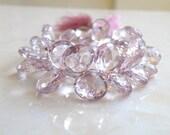 Pink Mystic Quartz Heart Briolette Gemstone Pastel Pink Faceted 12 to 13mm 1/2 Strand Wholesale