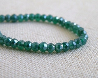Mystic Green Onyx Gemstone Rondelle AAA Emerald Green Faceted 4mm 1/2 Strand 50 beads