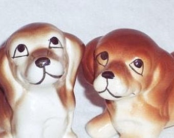 Vintage Dog Figurines, Brown Puppy Figures, 1960s Era Vintage Dogs, Set of Two