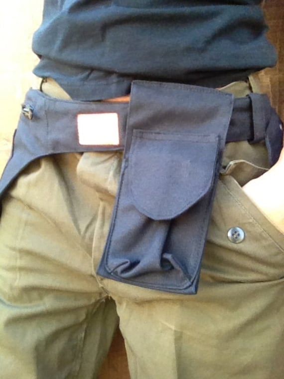 Black Canvas Durable Hip Bag.....with cell phone removable pouch