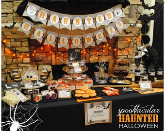 DIGITAL Pick 5 - Spooktacular Haunted Halloween Party Package with Bats and Spiders - Spooky Vintage Fonts in Black, Orange and White