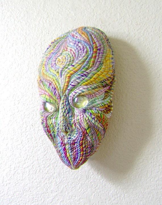 Alien Face Visionary Art Wall Sculpture