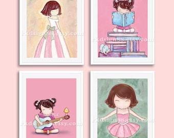 Princess decor, children art print, baby girl nursery art print, kids wall art, children decor, brown hair, Set, 4 prints