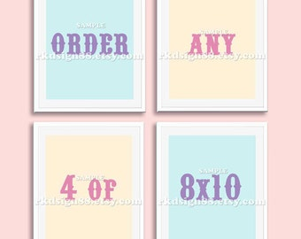 Nursery art, baby nursery decor, nursery wall art, children art print set 8x10