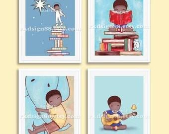 African nursery art print, childrens wall art print, boys room decor, baby boy nursery decor, kids decor, Set, 4 prints
