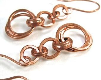 Abstract Boho Earrings, Rustic Copper Earings, Long Dangle Earrings, Eco Friendly Metal, Bohemian Jewelry