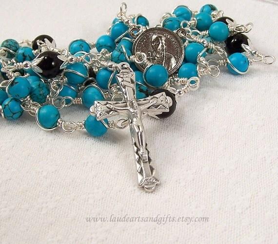 St. Kateri Tekakwitha Rosary Chinese Turquoise Onyx Unbreakable