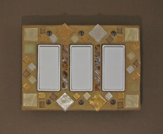 Light Switch Plate Cover - Mosaic - Stained Glass - Switch Plate Cover - Copper - Gold - Bronze - 7412