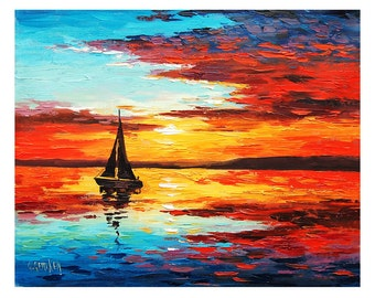 SUNSET OIL PAINTING Sailing Boat Decor  By Graham Gercken